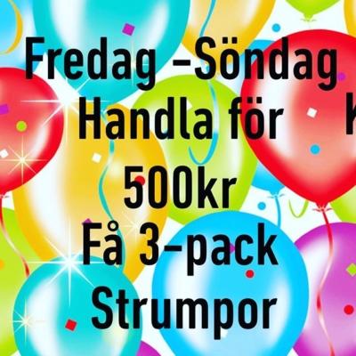 Kom och fira med oss 💖 Handla för 500kr och få 3-pack strumpor 👍